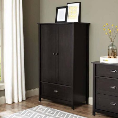 Armoire Wardrobe Closet Cabinet adjustable shelves Frame and panel drawer with metal runners and safety stops features patented T-lock wood 33.31L x 18.58W x 56.97H In 1-year limited warranty from Bh