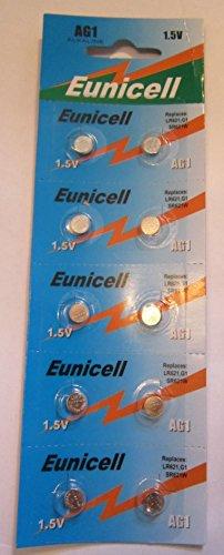 10 x AG1 / LR621 / G1 / SR621W 1.5v Eunicell Alkaline Cell Battery Batteries NEW