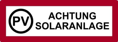 Aufkleber PV Achtung Solaranlage 105x297mm