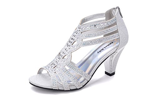 Mila Lady Women's Lexie Crystal Dress Sandals, Kimi25 Silver 8.5