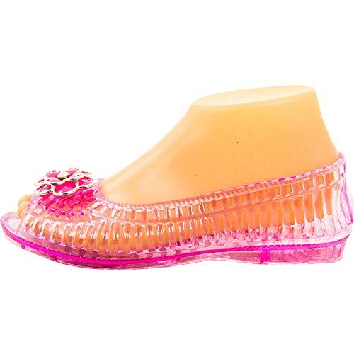 J & J Bonita Womens Bout Ouvert Jelly Ballerines Rose