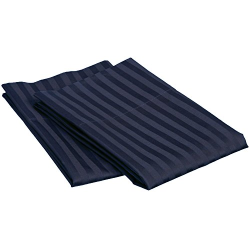 Superior 2 Piece Egyptian Cotton 650 Thread Count Pillowcase Set with Single Ply Stripe, Standard, Navy Blue
