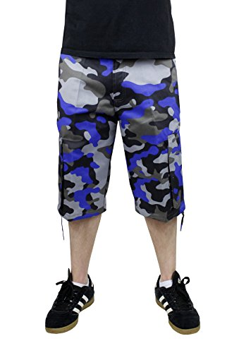 (Access Men's Camouflage Cargo Shorts with Belt Black-Royal 32 )