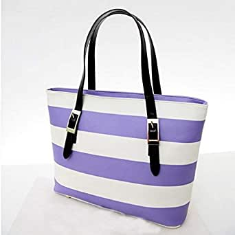 Large Color Block PU Leather Striped Buckle Shoulder Purse Satchel Handbag Tote