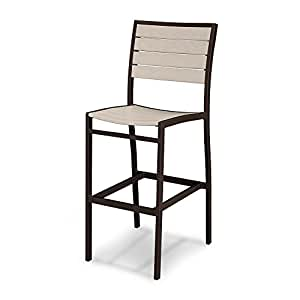 POLY-WOOD Euro Bar Side Chair, Textured Bronze/White