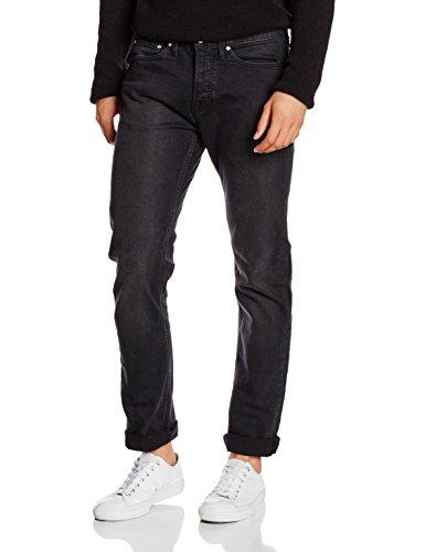 New Look Herren Jeans mit Schmaler Passform Drake Wash Slim, Schwarz, 46R (Herstellergröße: 91/81)