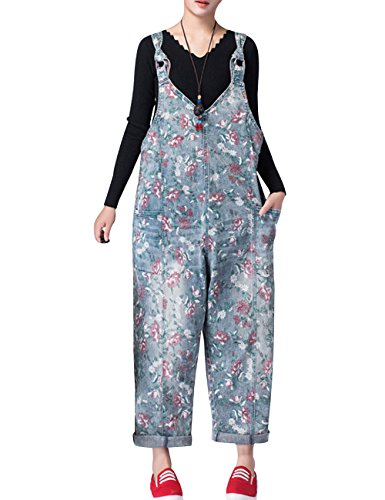 Zoulee Women's Printed Bib Overalls Loose Jumpsuits Rompers Style 3 Blue