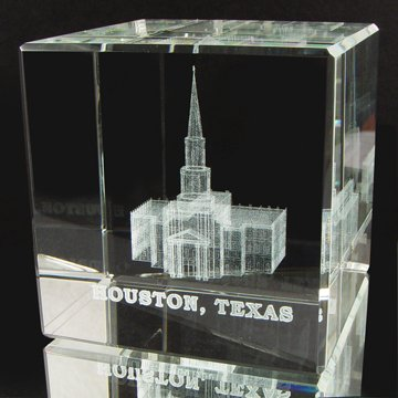 LDS Houston Texas Temple 60 x 60 x 60mm Crystal Cube - LDS Wedding, LDS Gifts, LDS Anniversary