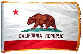 product image for Valley Forge California State Flag 3x5ft Nylon with Indoor Pole Hem and Fringe