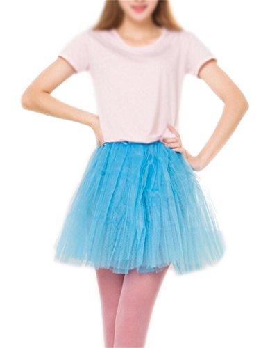 Women's, Teen, Adult Classic Elastic 3, 4, 5 Layered Tulle Tutu Skirt (One Size, LightBlue 3Layer) (Tutu Skirts Adults)