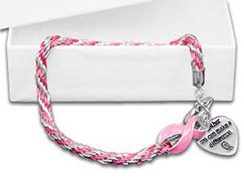 Breast Cancer Awareness Rope Pink Ribbon Bracelet ()