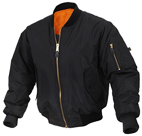 Rothco Enhanced Nylon MA-1 Flight Jacket, 3XL, Black