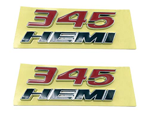345 Hemi Emblem Fender Side Badge Decal Sticker Replacement For Dodge Charger Ram Red 345 Black Hemi Pack Of 2