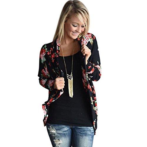 Perman Women Irregular Long Sleeve Cardigans Floral Print Outwear Coat Tops (XXL, Black)