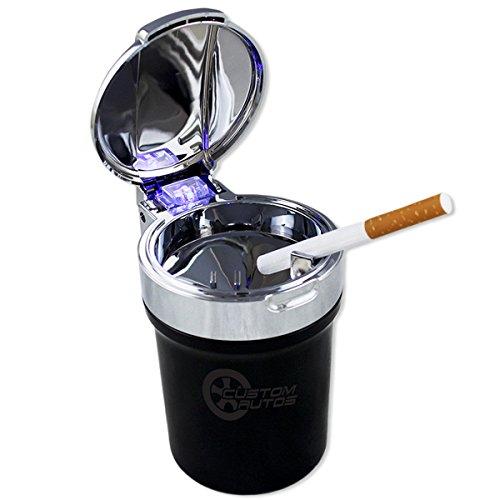 Custom Autos Smokeless Ash Tray - Car Cigarette Odor Remover Smoke Diffuser with Cool Blue Led Light (Customs Halloween Make)