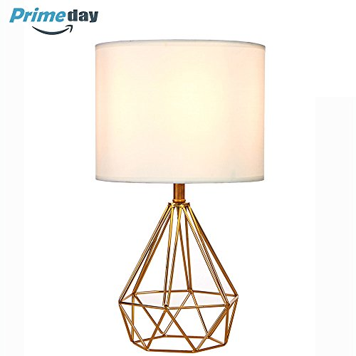 SOTTAE Modern Style Golden Hollowed Out Base Living room Bedroom Beside Table Lamp, Desk Lamp With White Fabric (Bronze Modern Desk Lamp)
