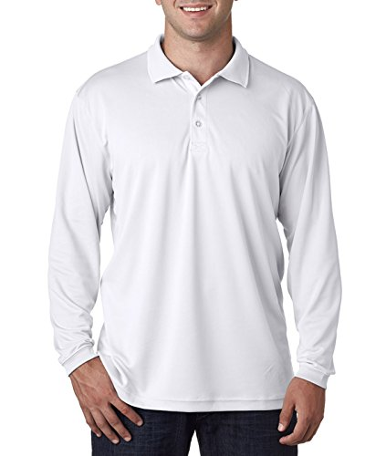 UltraClub Mens Cool & Dry Sport Long-Sleeve Polo (8405LS) -WHITE -L