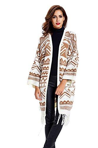Geometric Print Tassels Knitwear Oversized Open Front Cardigan - Khaki
