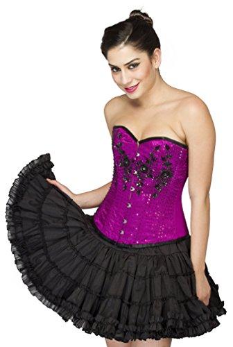 にボーカルイディオムPurple Satin Black Sequins Gothic Burlesque Waist Training Overbust Corset Top