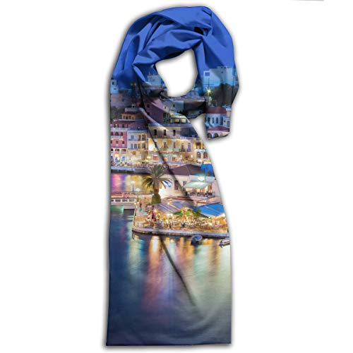Covers Skyline Greek Village Santorini Windmills Scarf Fashion Pattern Printed Can Be Used As Shawl,Headscarf and Wrap for Women Men,Teens