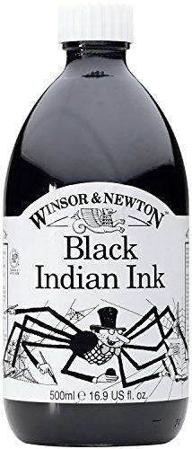 Winsor & Newton 500Ml Water Resistant Drawing Ink - Black Indian