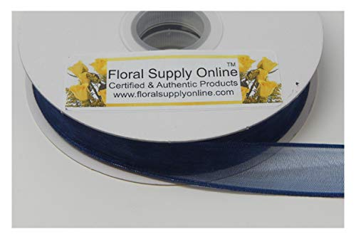 #3 Monofilament Edge Sheer Organza Ribbon for Floral, Fashion, Craft, Scrapbooking, Gift Wrapping, Hair Bows, Wedding, Baby Shower, and Decorating Projects. (5/8 Inch x 25 Yard, Navy) (Wired Organza Blue Ribbon)