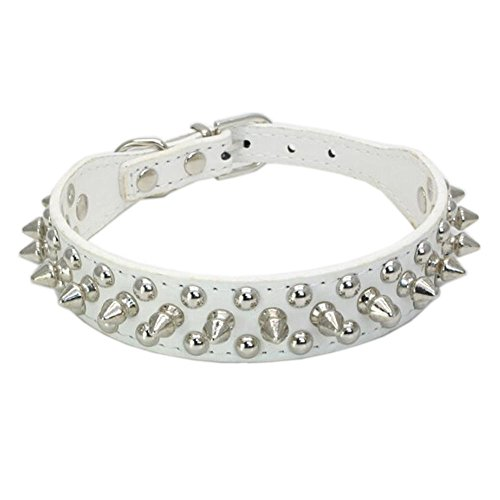 Avenpets Gorgeous Design Leather Dog Collar with Spikes and Studs for Daily Activities,White,M:(neck 13-15