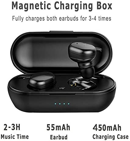 Bluetooth 5.0 Wireless Earbuds with Wireless Charging Case IPX6 Waterproof TWS Stereo Headphones in Ear Built in Mic Headset Premium Sound with Deep Bass for Sport