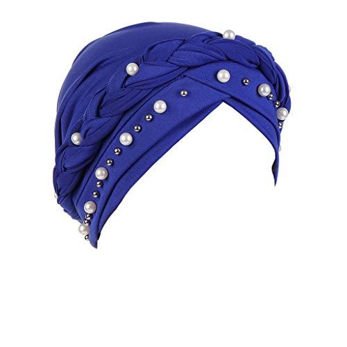 YEZIJIN Women Beading India Hat Muslim Ruffle Cancer Chemo Beanie Turban Wrap Cap Summer Best 2019 New Blue