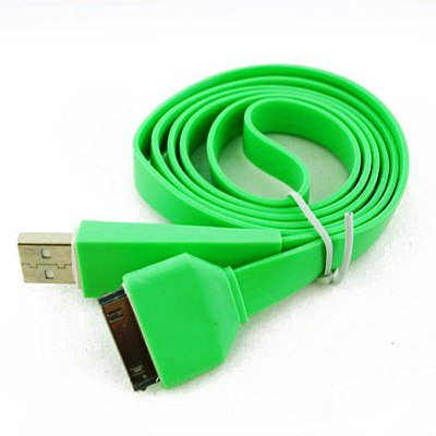 Green Noodle Flat Dock Connector to Charging USB Sync Data Cable For Apple iPod Classic 80GB, 120GB, 160GB