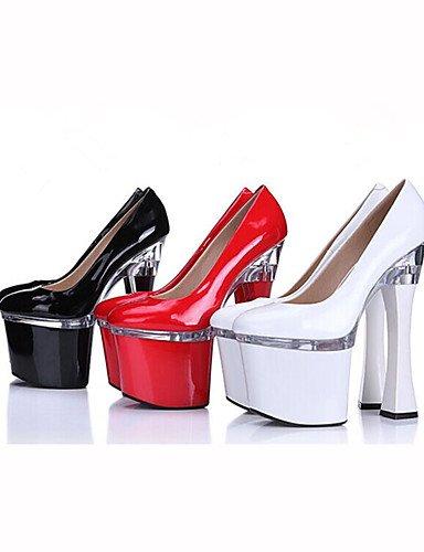 GGX/Damen Schuhe Patent Leder Sommer Heels/Plattform Heels Hochzeit/Party & Abend/Kleid Chunky Heel Kristall/Single Schuhe white-us6 / eu36 / uk4 / cn36