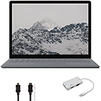 2017 Surface Laptop Bundle (3 Items): Surface Laptop Platinum Core i5, 8GB, 256GB SSD, Mini DisplayPort Adaptor and HDMI Cable