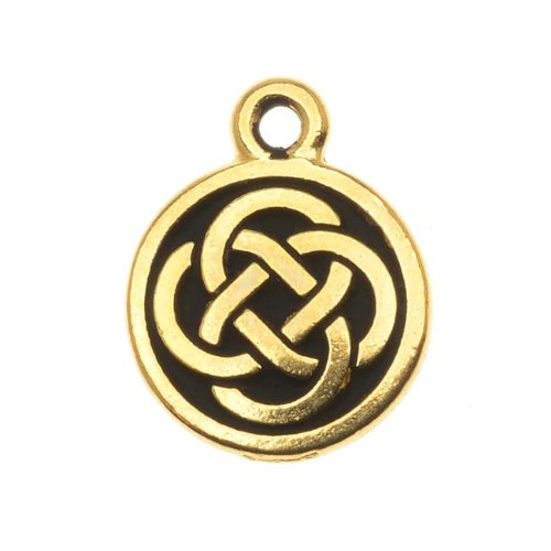 - TierraCast 22K Gold Plated Pewter Celtic Knot Round Charm 15mm (1)