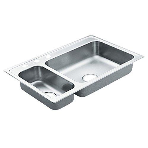 Moen G202853 2000 Series Stainless Steel 20 Gauge Double Bowl Drop in Sink, 33' x 22'