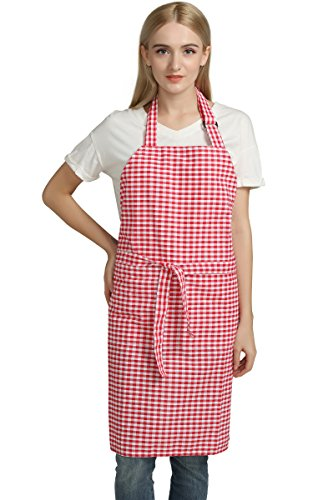 Vintage Gingham Kitchen Aprons Chef Bib Canvas Aprons Christmas Holiday Home Decorative 100% Pure Cotton Aprons in Large Size with Pockets Adjustable Neck Strap Long Ties Aprons(Red)