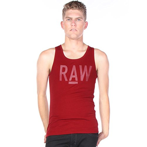 G-Star Raw Men's Terrams Round Neck Tanktop, Chateaux Red, Small
