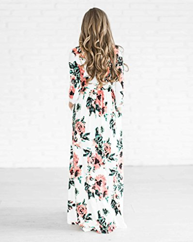 vestidos de mujer manga larga bohemio Verano moda floral Vestido de playa maxi barato Blanco