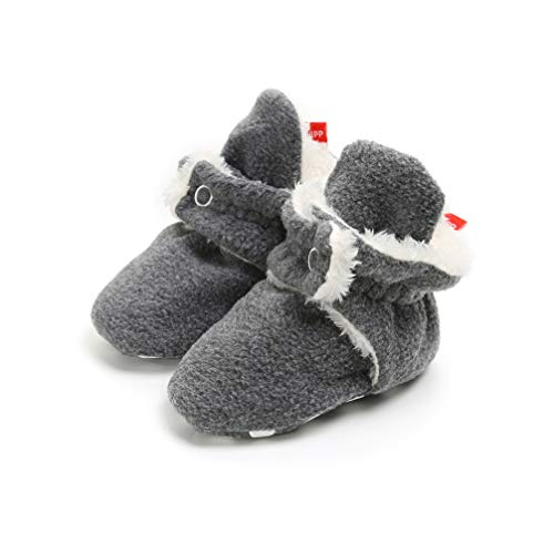 Tag Toddler Shoe - Newborn Cozie Fleece Bootie, Unisex Infant Toddler Slippers Crib Shoes Warm Boots with Non Skid Bottom (0-6 Months, D)