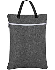 Damero Wet Dry Bag, Travel Tote Organizer with Two Compartments for Cloth Diaper, Laundry, Swimsuits and More, Easy to Hang Everywhere