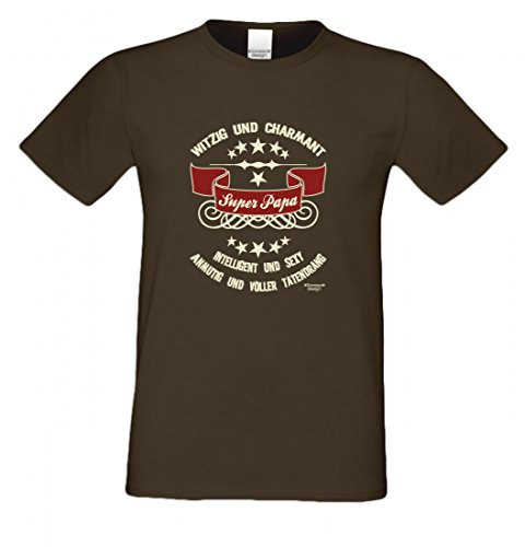 T-Shirt als Geschenk für den Vater - Intelligent und Sexy - Ein Danke für den Super Papa mit Humor zum Vatertag oder einfach so, Größe 4XL Farbe 09-Braun