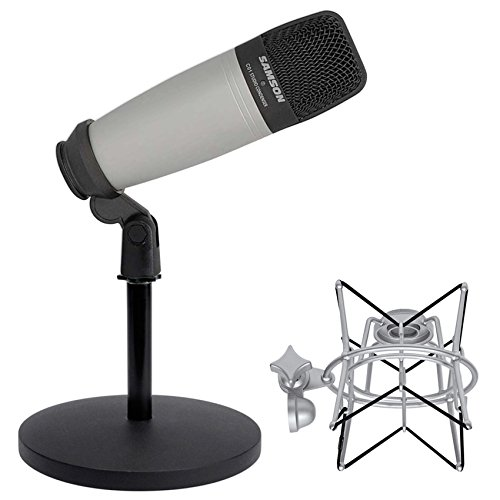 (Samson C01 Studio Recording Podcast Microphone+Shock Mount+Weighted Mic Stand)