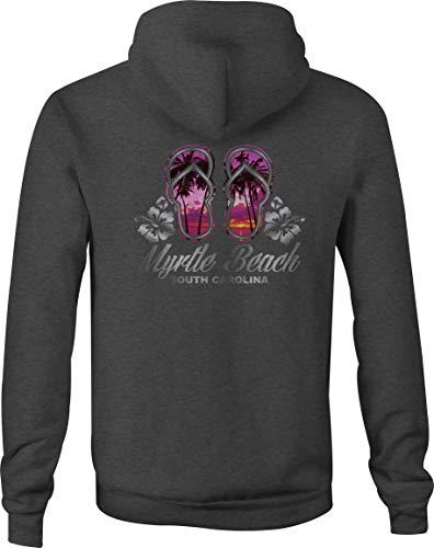 - Zip Up Hoodie Myrtle Beach SC Sandals Hooded Sweatshirt for Men - Large Gray