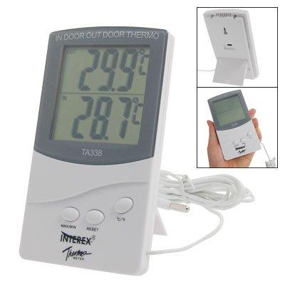 Exterior Digital LCD funciona con pilas max-min term/ómetro blanco gris