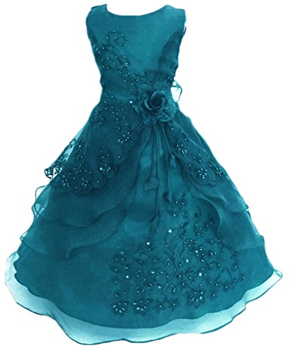 Flower Girl Dresses Teal (Shiny Toddler Big Girls Embroidered Beaded Flower Girl Birthday Party Dress with Petticoat)