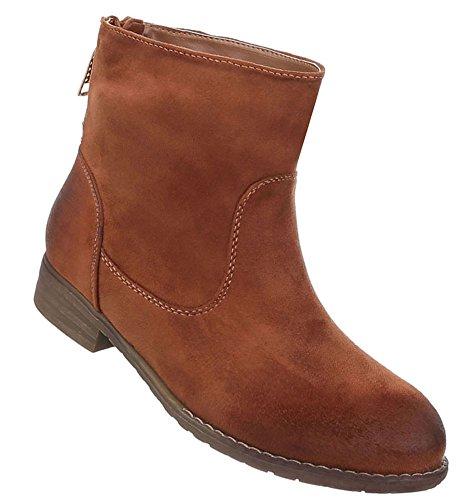 Damen Schuhe Stiefeletten Boots Modell Nr.1 Camel