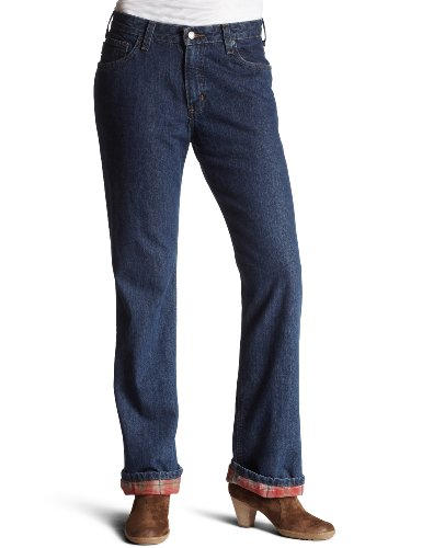 Carhartt Women's Relaxed Fit Jean/Straight Leg, Flannel Lined,Vintage Indigo (Closeout),0