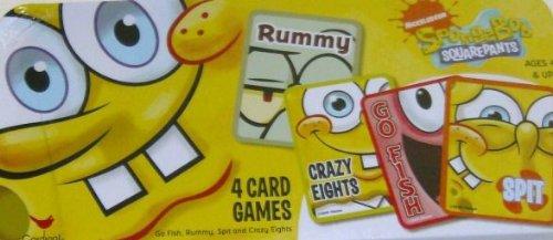 NICKELODEON SpongeBob SQUAREPANTS 4 Card Games Tin Box Set- Go Fish, Rummy, Spit and Crazy Eights (Go Fish Tin)