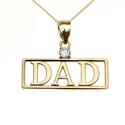 """Collier Femme Pendentif 10 Ct Or Jaune """"Dad"""" Oxyde De Zirconium (Livré avec une 45cm Chaîne)"""