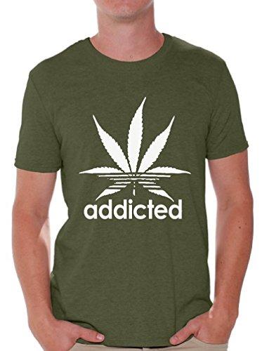 Awkward Styles Addiced Shirt for Men Marijuana Leaf Tshirt Funny Weed Shirts Militarygreen XL