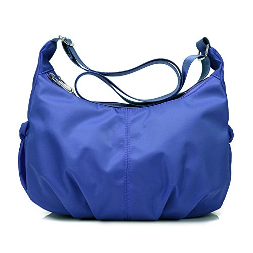Qearly Einfach Stil Nylon Portable Tasche Umhaengetasche Shopper Tasche-Blau